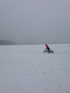 Winter training at Mile Zero on a Freewheel Pugsly